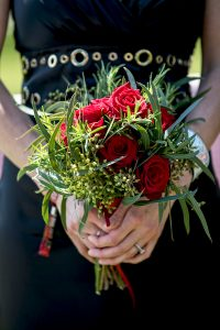 black and red rock n roll wedding