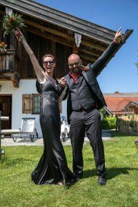 bride black wedding dress rockers wedding