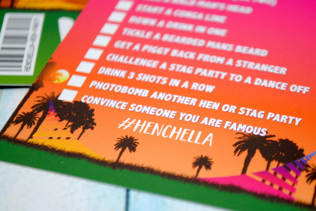 festival hen party dares cards