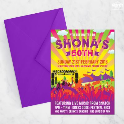 festival themed 50th birthday party invites