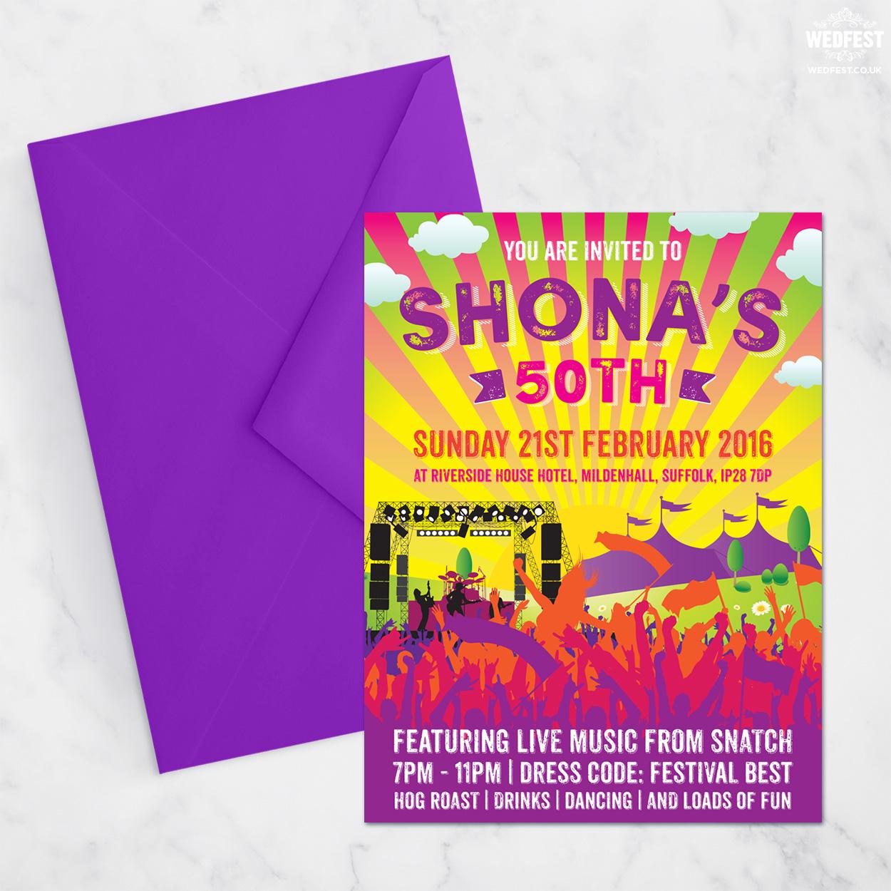 festival themed 50th birthday party invites