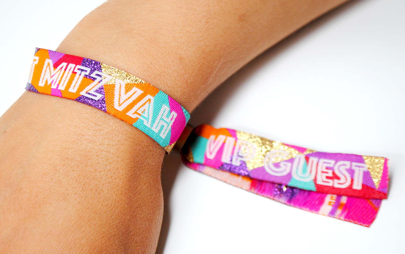 festival themed bat mitzvah party wristbands