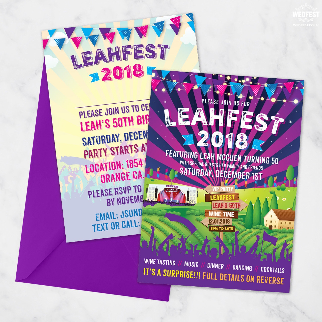 festival themed birthday party invite