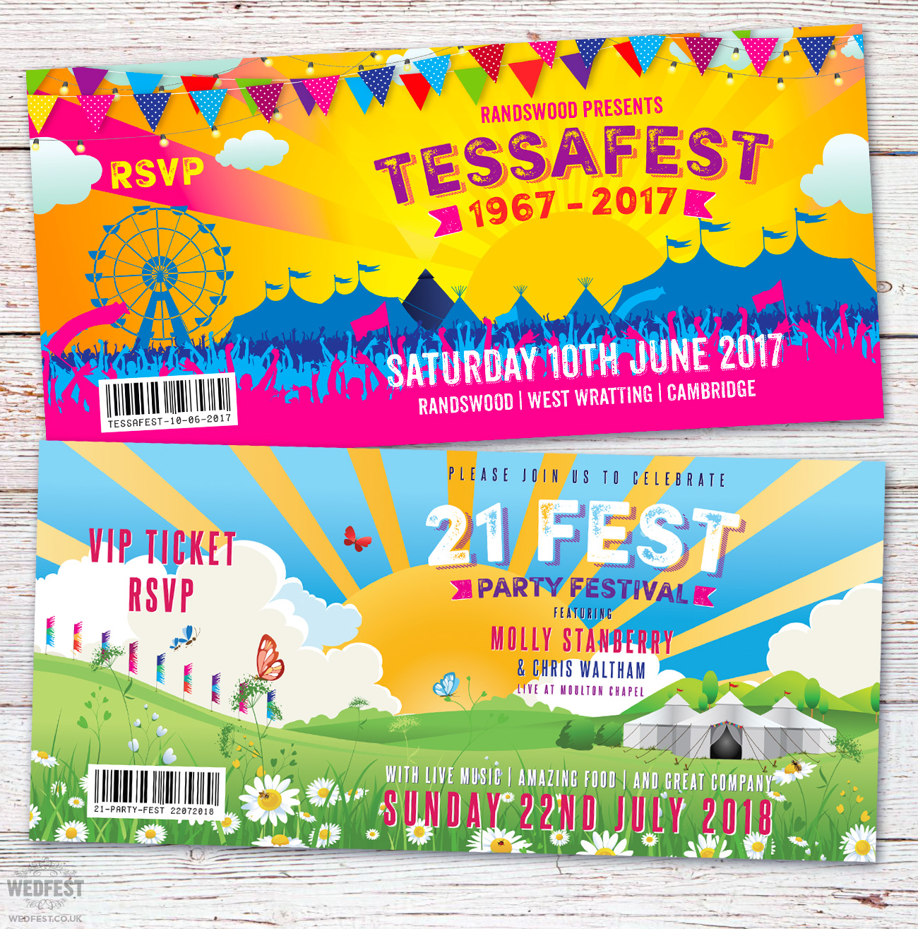 festival ticket birthday party invitations