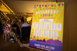 mounted festival wedding table plan