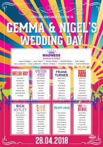 music themed wedding table plan