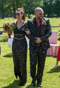 rock n roll bride and groom black wedding dress black suit