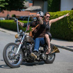 rock n roll bride riding motorcycle