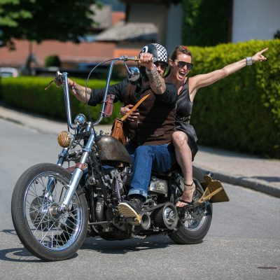 rock n roll bride riding motorcycle