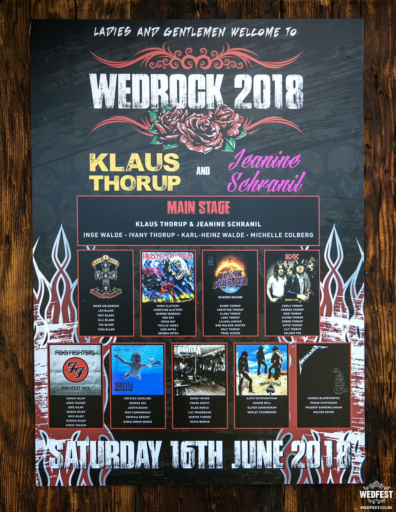 wedrock rock and roll wedding seating plan