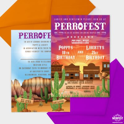 wildwest western theme birthday party invitations