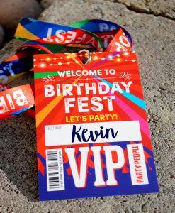 birthdayfest birthday party vip pass lanyard