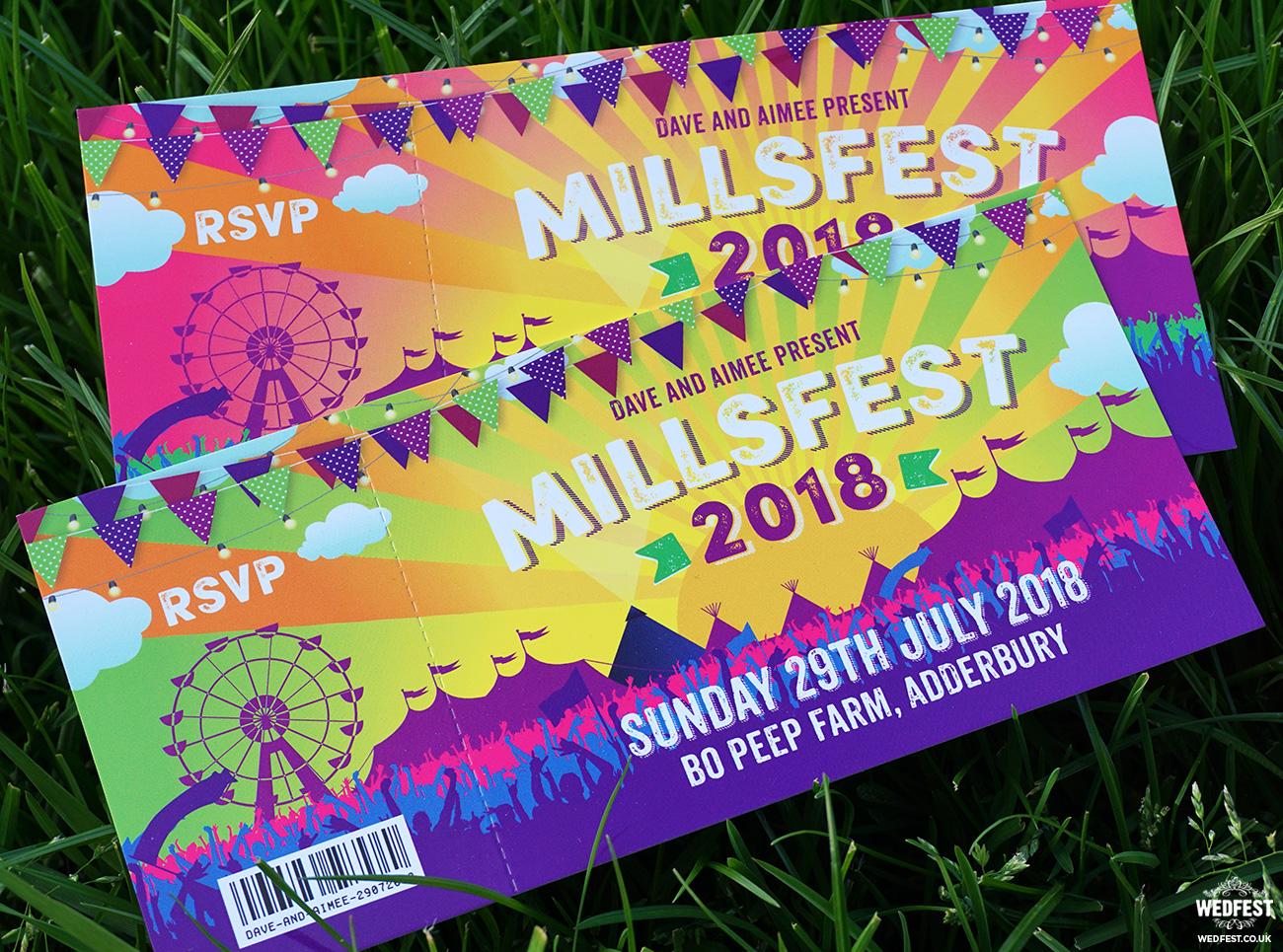 festival ticket wedding invites bo peep farm