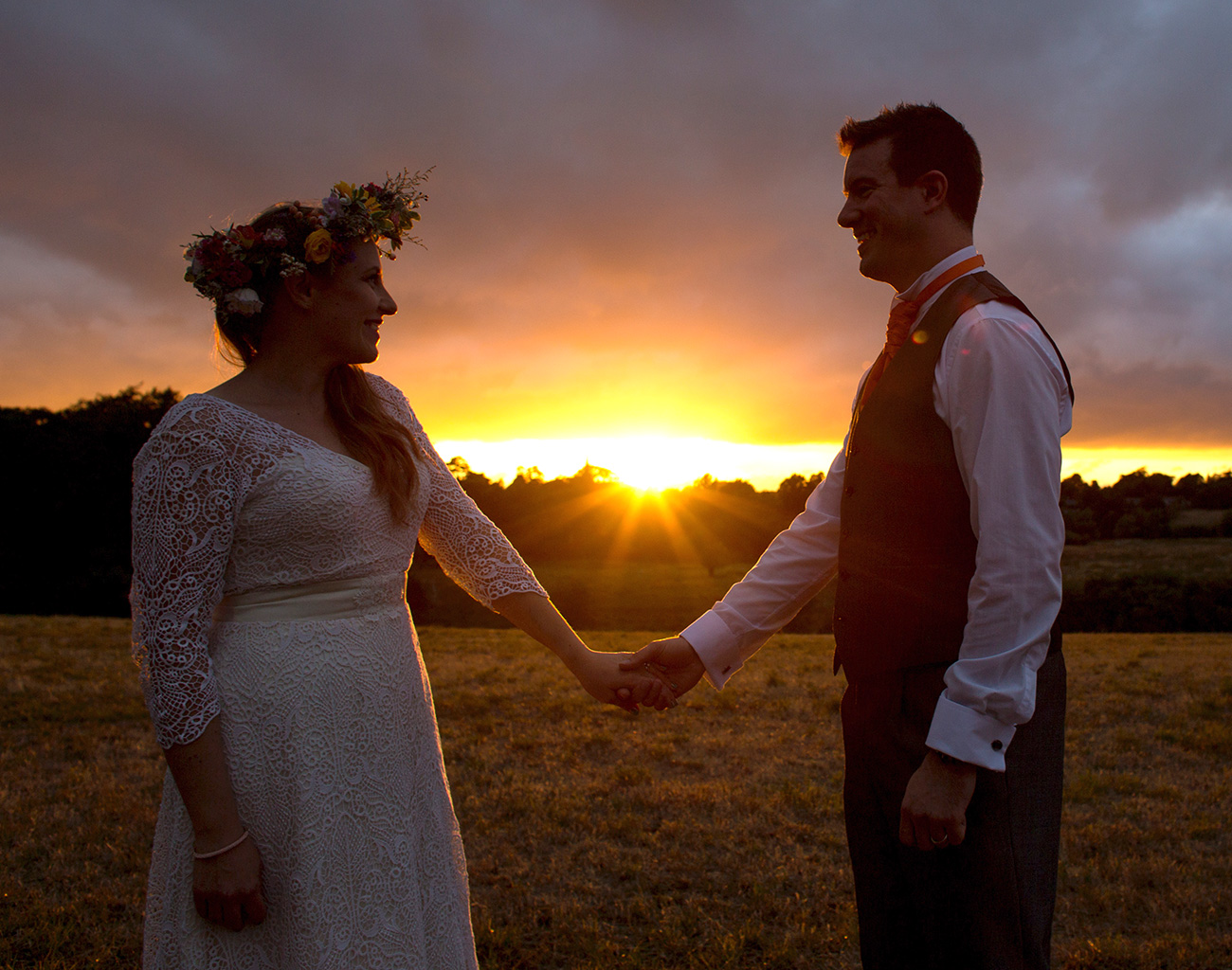 festival wedding sunset bride groom wedfest