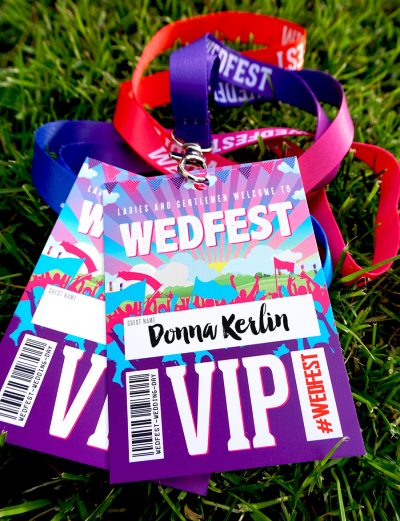 festival wedding wedfest place names ideas vip lanyards