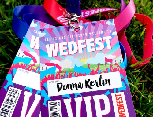 Wed Fest Festival Wedding VIP Pass Lanyard Place Cards