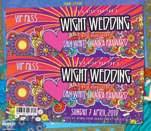 isle of wight festival theme wedding invitations
