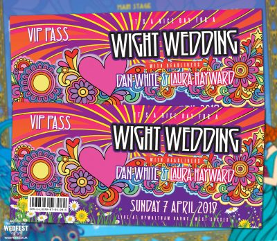 isle of wight festival theme wedding invitations