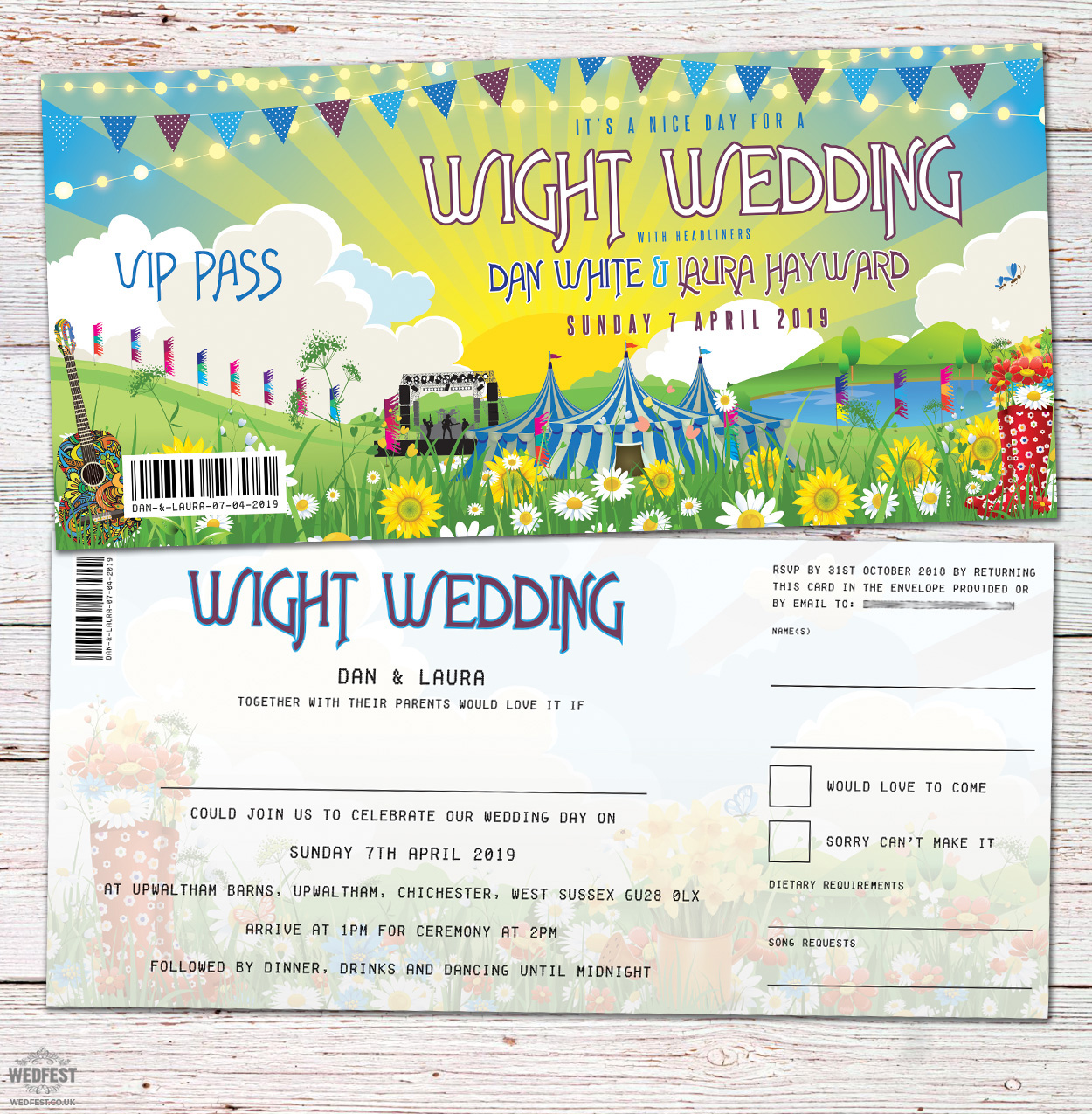 isle of wight festival theme wedding invites