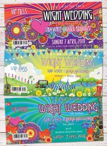 isle of wight festival themed wedding invitations