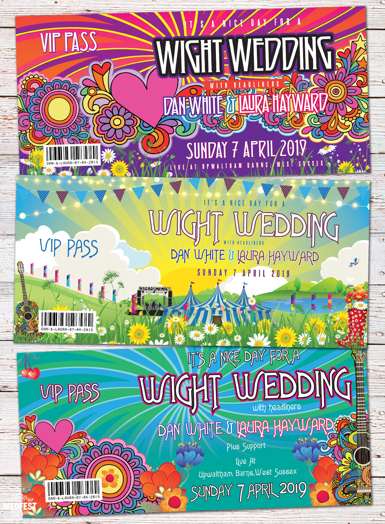 isle of wight festival themed wedding invitations