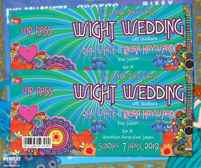 isle of wight festival themed wedding invites