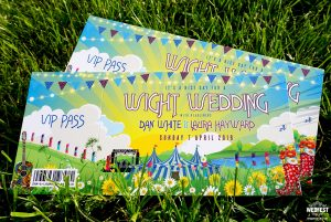 isle of wight festival ticket themed wedding invitations