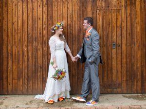 orange shoes theme bride festival wedding