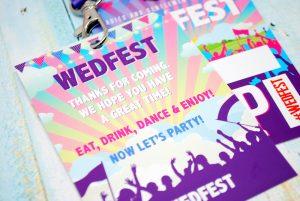 wedfest festival wedding favour place name lanyards
