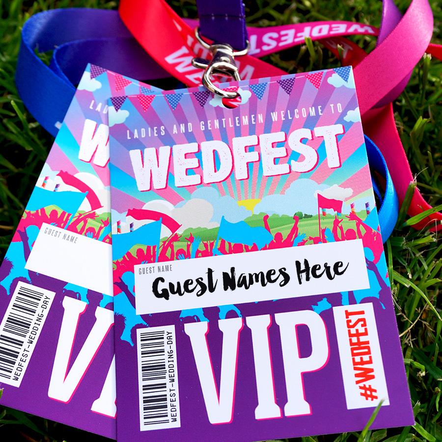 wedfest festival wedding place name lanyards
