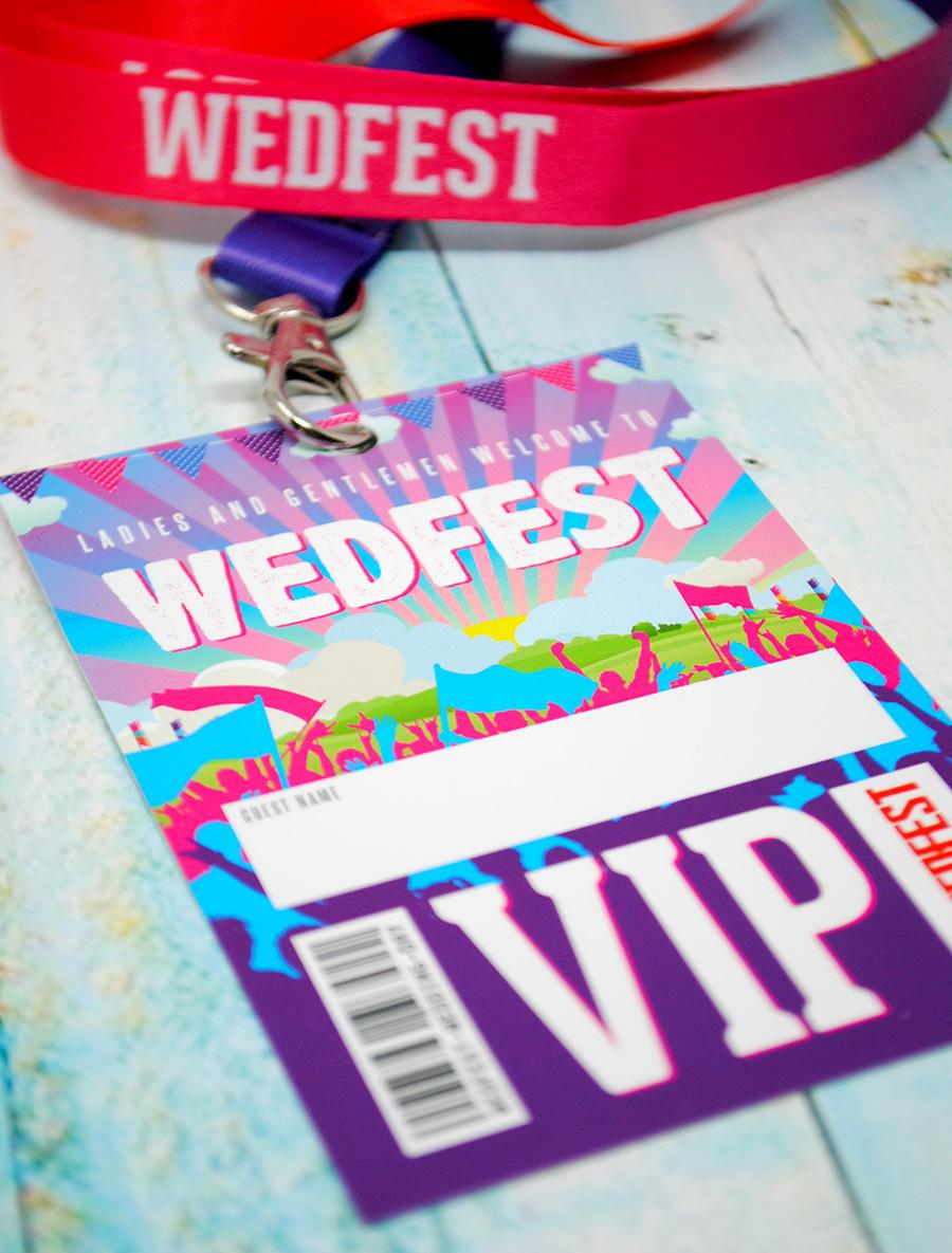 wedfest festival weddings place name vip lanyards