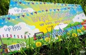 wedfest isle of wight festival ticket themed wedding invitations