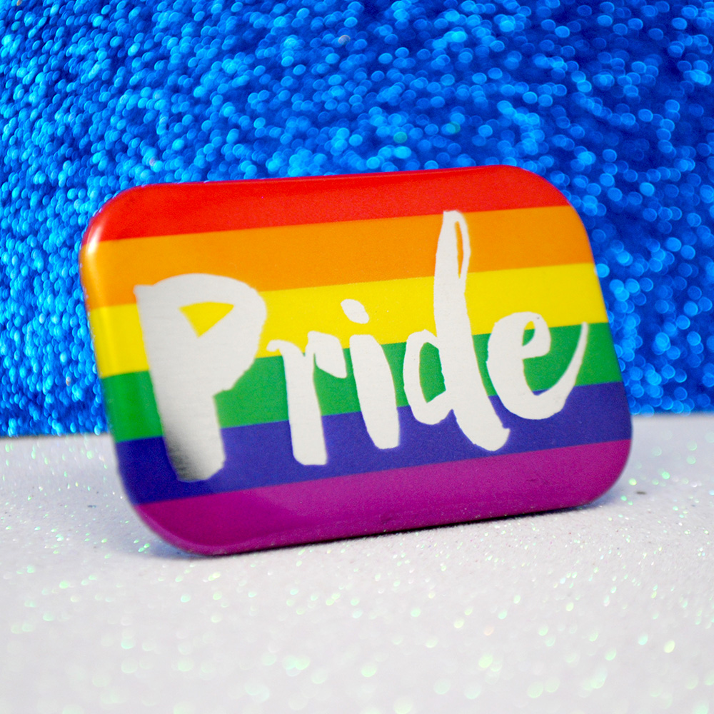 gay pride rainbow flag metallic button badge