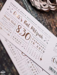 bat mitzvah invitations rose gold foil festival ticket