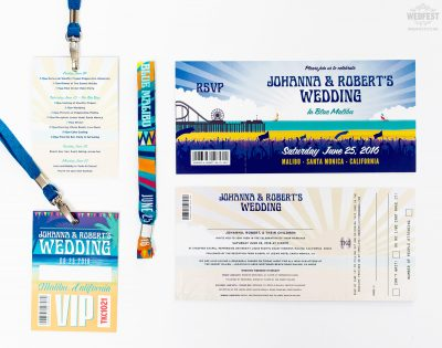 california beach festival wedding invite wristband lanyard