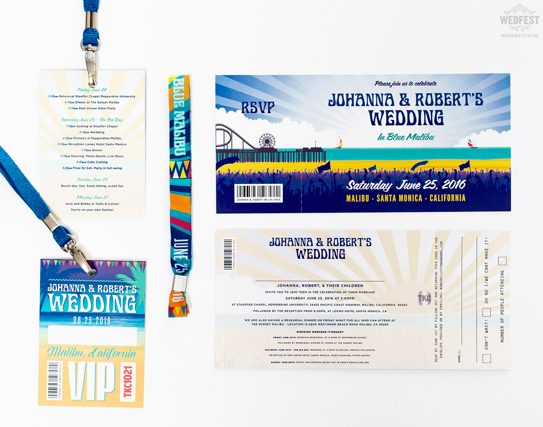 california beach festival wedding invite wristband lanyard
