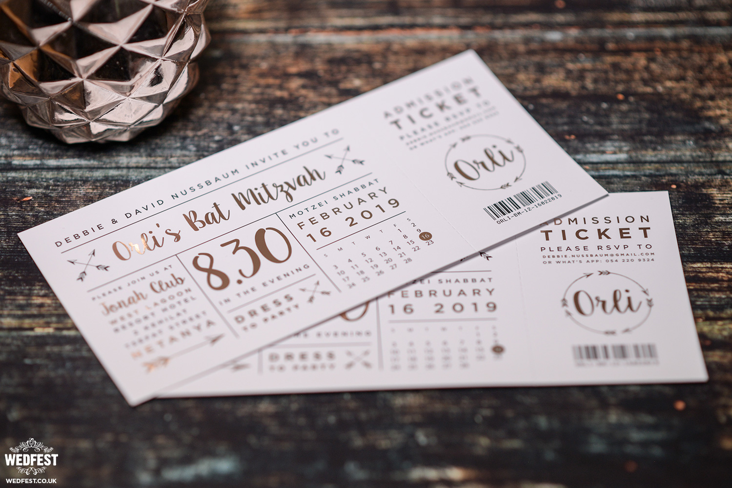 festival ticket bat mitzvah invitations
