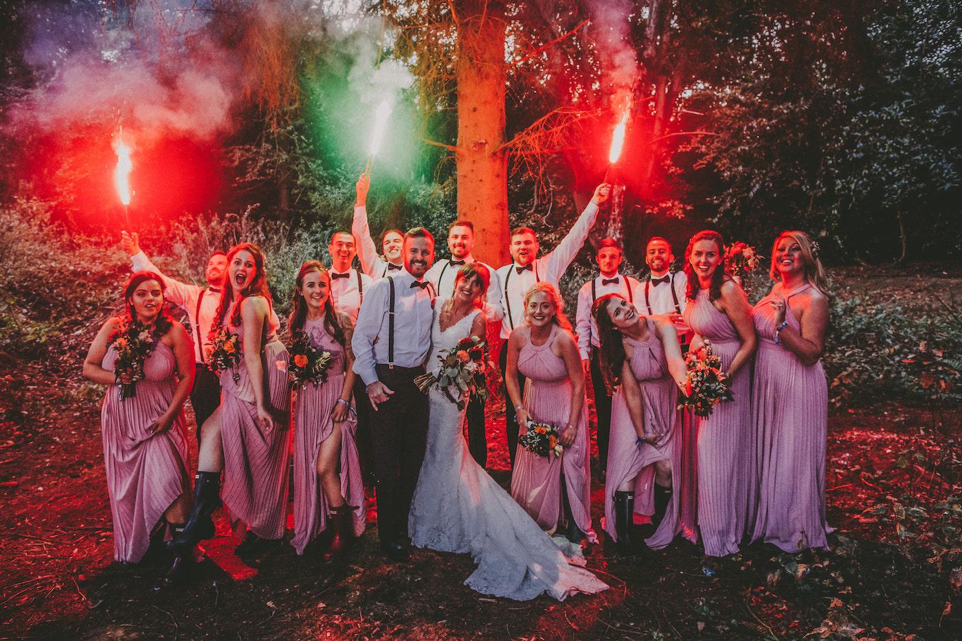 festival wedding bridal party flare