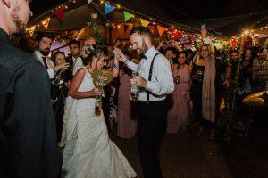festival wedding dance floor bride groom