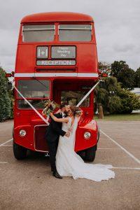festival wedding red double decker bus
