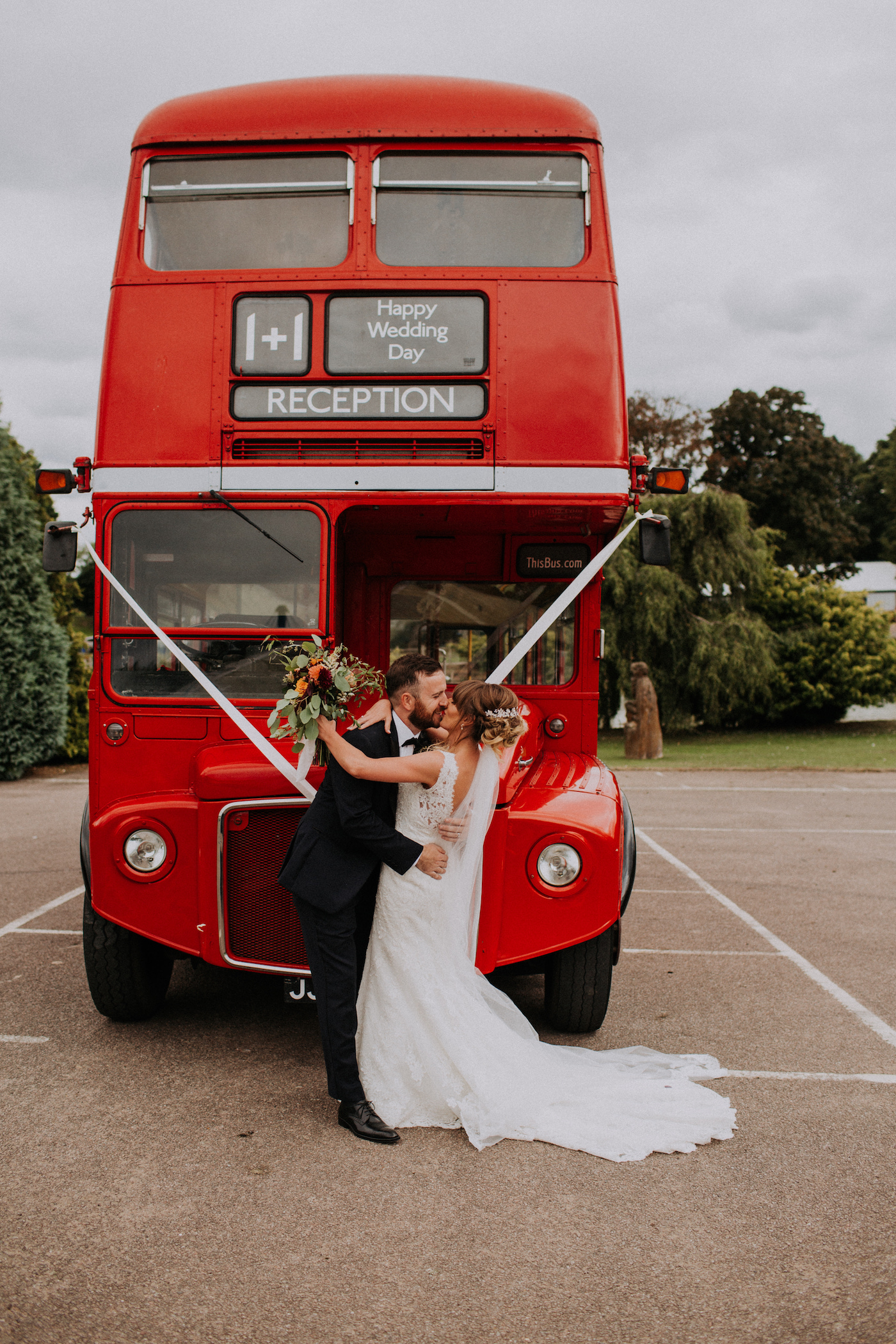 festival wedding red double decker bus