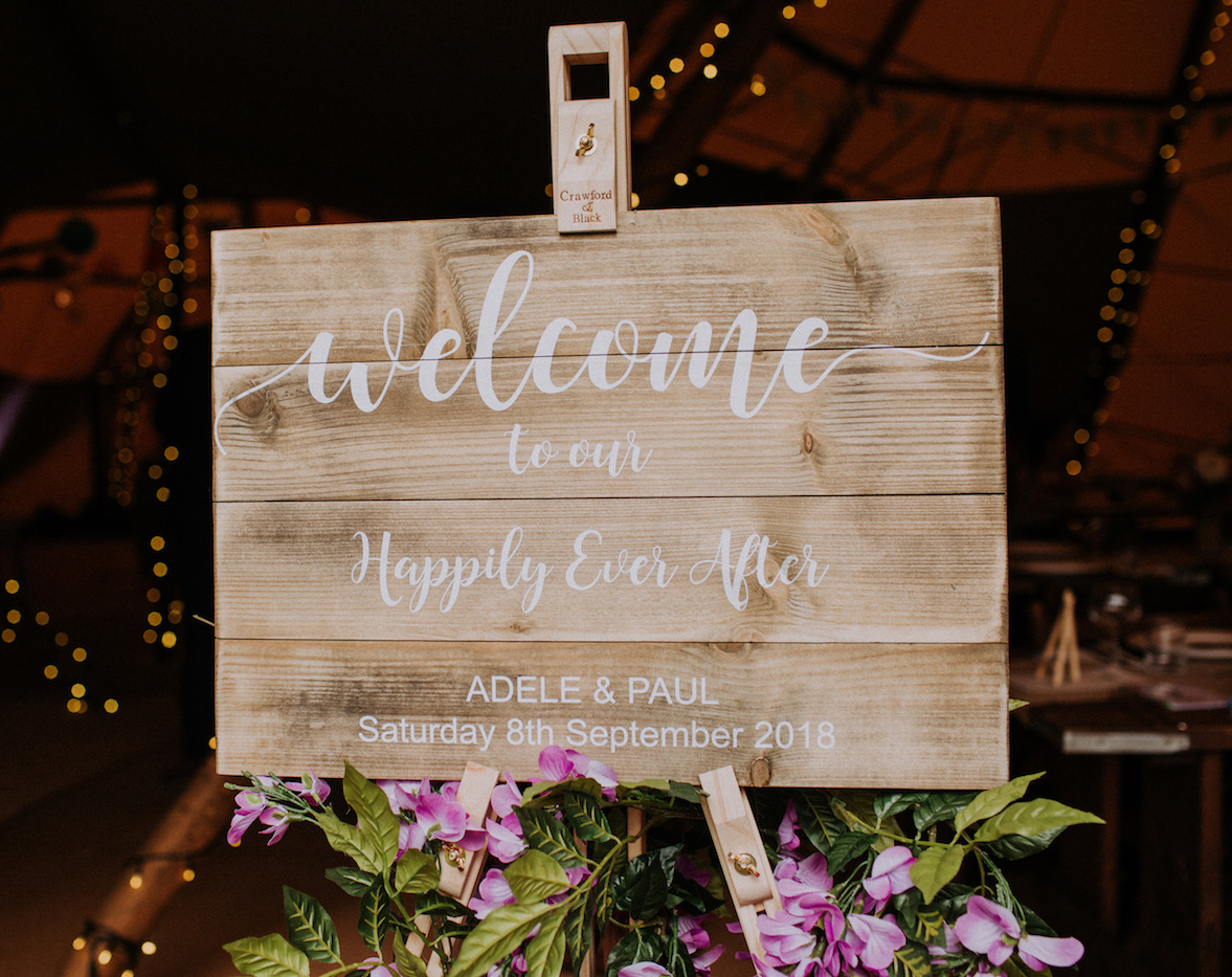 festival wedding welcome sign