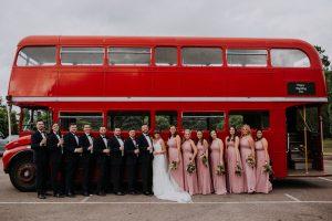 glastonbury festival wedding red double decker bus