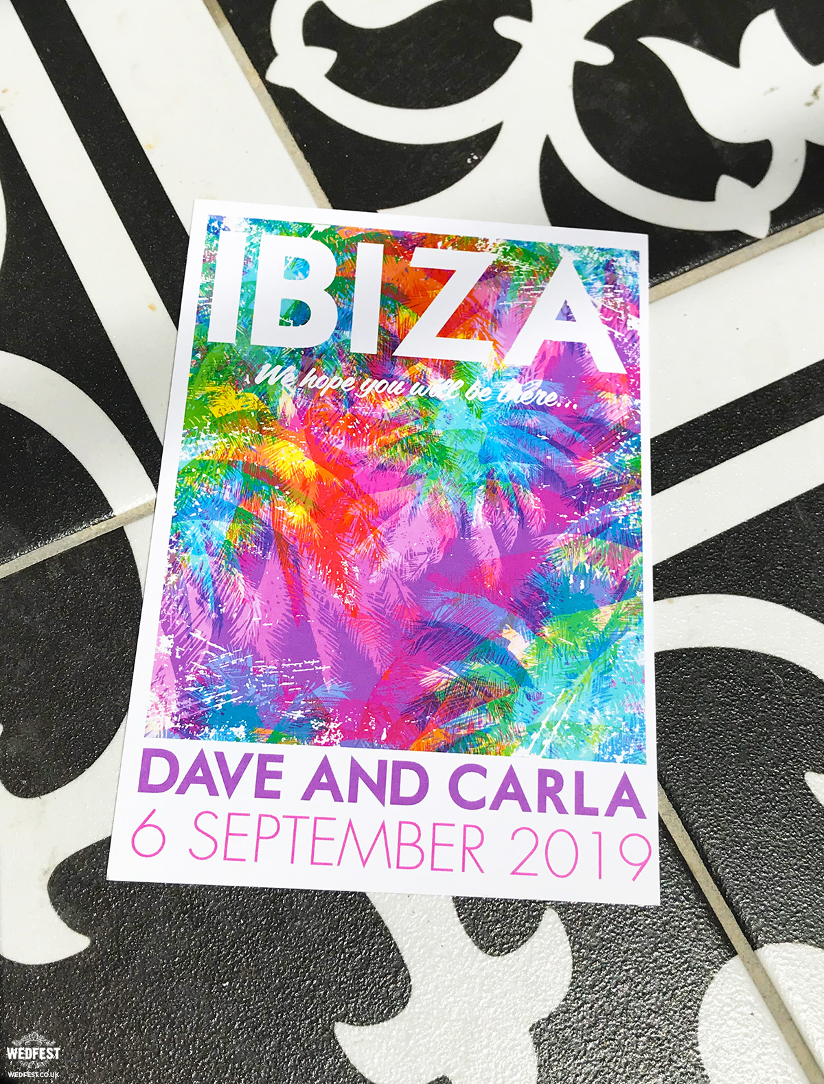 Ibiza Eivissa wedding bride to be invite