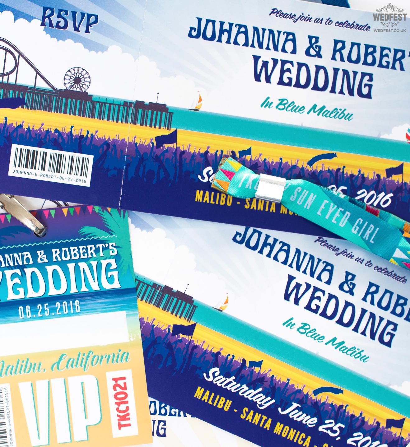 malibu california beach pier wedding invitation wedfest