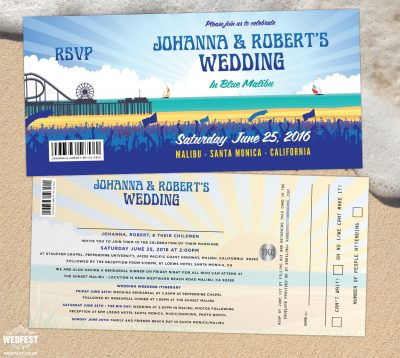 malibu california pier theme wedding invitation
