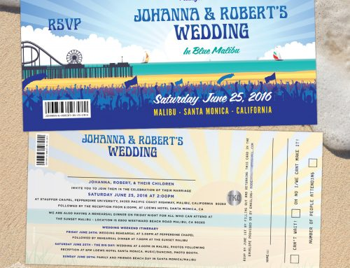 Malibu Beach / Santa Monica Pier, California, Wedding Invitations