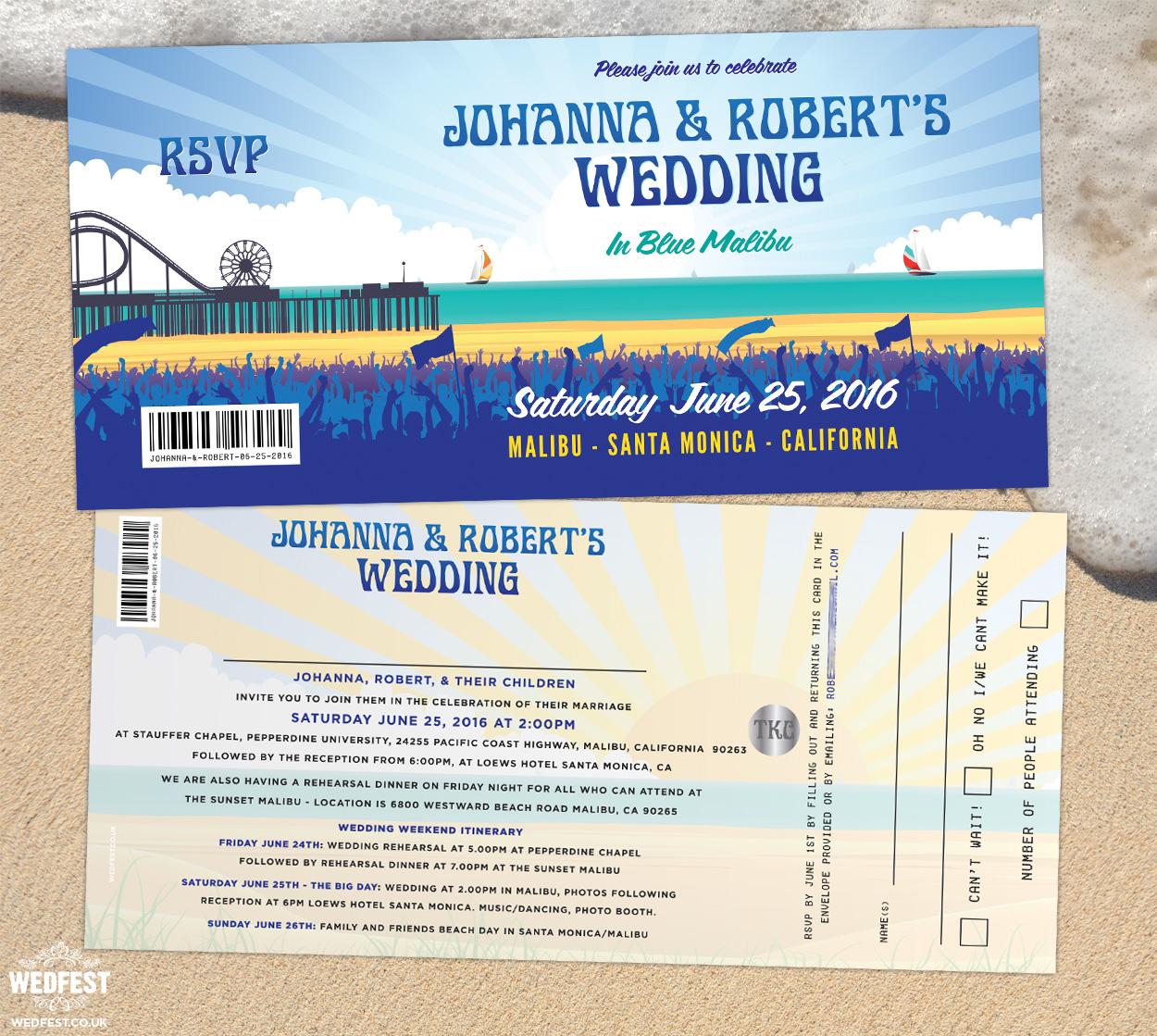 malibu california pier theme wedding invitation