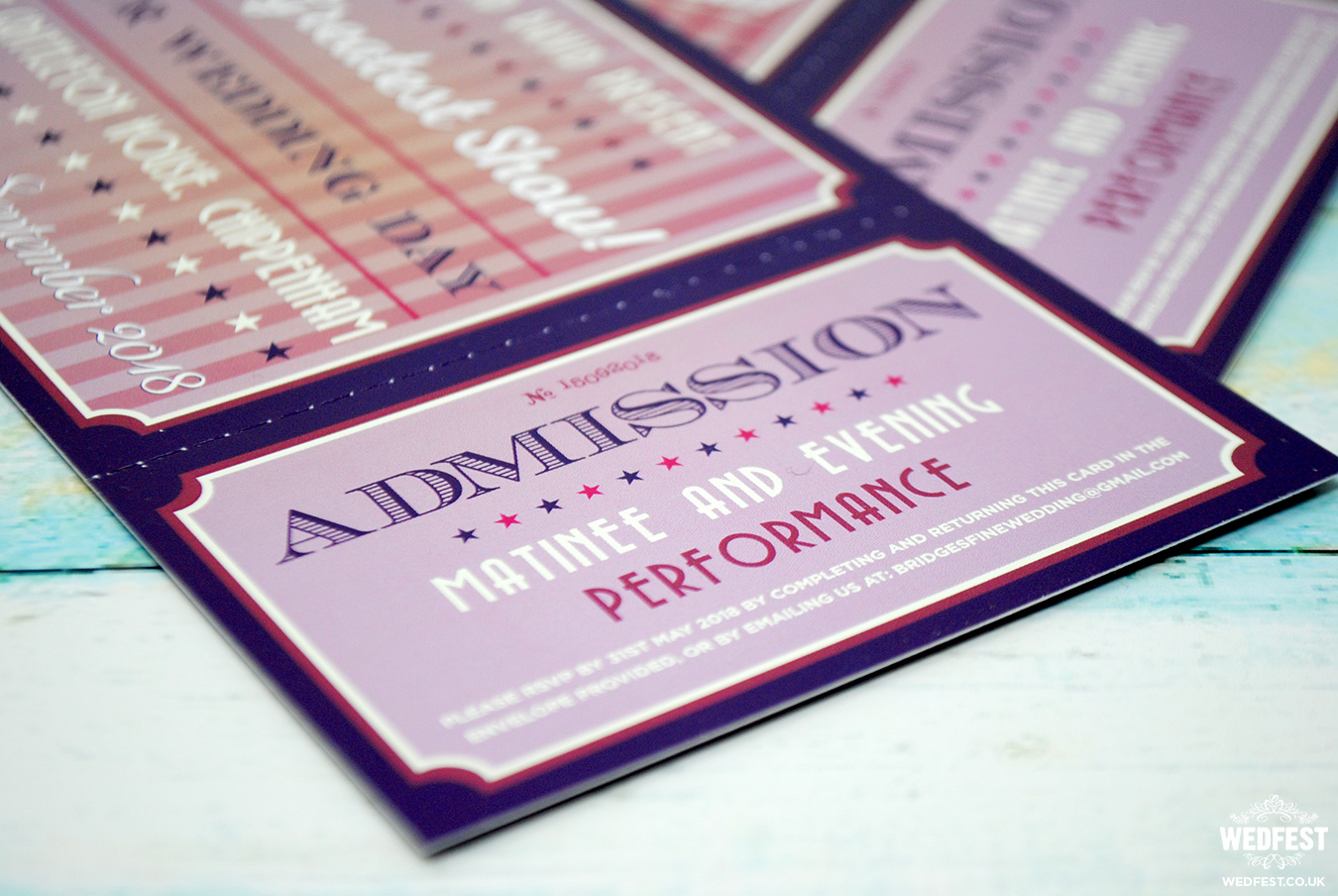 musical theatre admission tickets wedding invitations