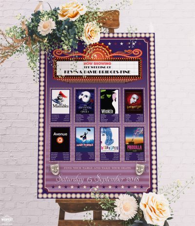 musical theatre theme wedding seating table plan chart